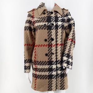 Burberry Girls Check Print Wool Peacoat Size 14Y